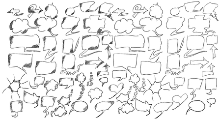 sketch dialogs clouds for insertion in the work drawings on a white background