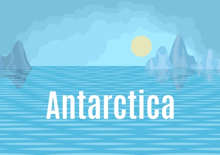 Antarctica drawing landscape with sun and sea and floes