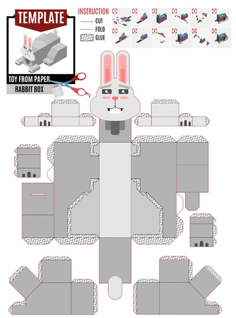 rabbit box gluing template for easter holiday Иллюстрация