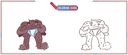 Coloring image with a monster poop in diapers