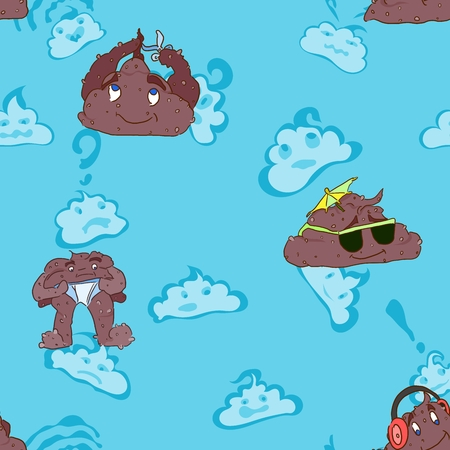 Seamless pattern for baby cloth with blue background and poop