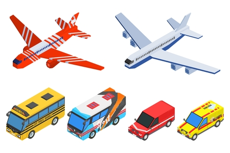 a selection of passenger transport isometric buses planes and cars