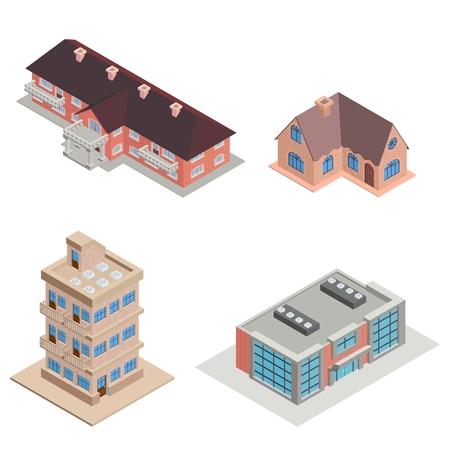 colección de casas de varios pisos de la ciudad isométrica detallada Ilustración de vector