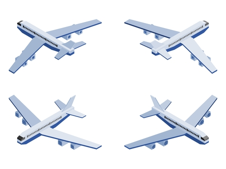 isometric passenger plane in different angles on white