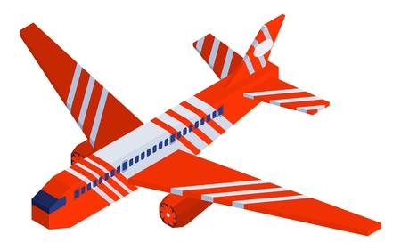 bright red striped isometric airplane flies