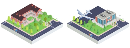 isometric city airport and museum small illustration  イラスト・ベクター素材