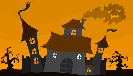 old castle halloween poster with smoke and yellow sky