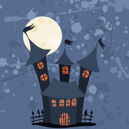 castle with a fence and high towers halloween illustration for a holiday
