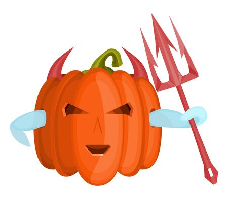 evil devil pumpkin with a pink trident made of steel