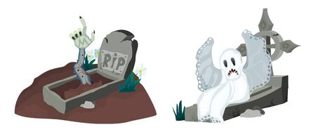 graves in a cemetery a selection of vivid illustrations with a ghost on a stone