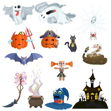 selection of animals and monsters halloween elements cartoon style