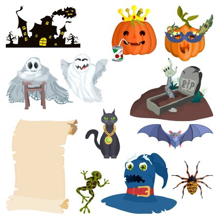 holiday halloween cartoon characters and castle with grave
