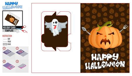greeting card cut holiday halloween pumpkin and food and ghost cheerful
