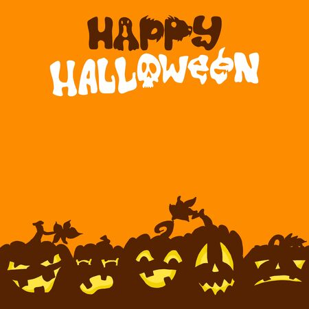 printable halloween background template with pumpkins on orange