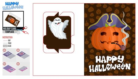 greeting card cut holiday halloween pirate pumpkin and ghost Çizim