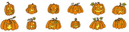 doodle pumpkins selection on white funny monsters for the holiday