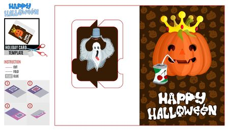 greeting card cut holiday halloween pumpkin in the crown and a ghost with a bucket