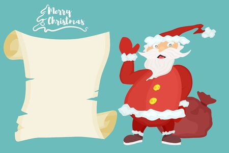 Santa Claus with presents. poster with text and papyrus Ilustração