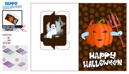 Halloween holiday card template. devil near the grave