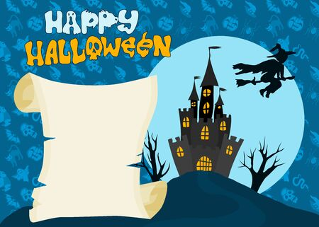 Halloween holiday poster with witch. old castle and scroll
