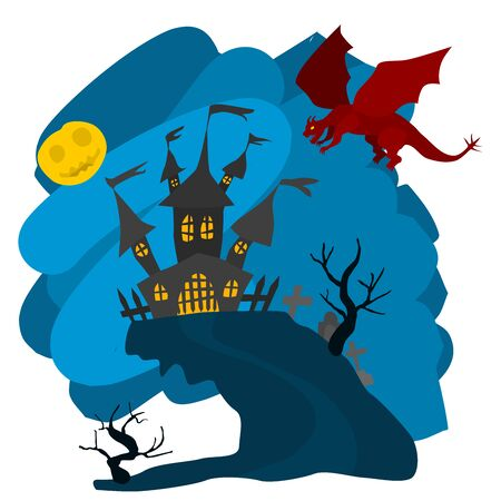 bright illustration with dragon and castle. moon and night on a white background