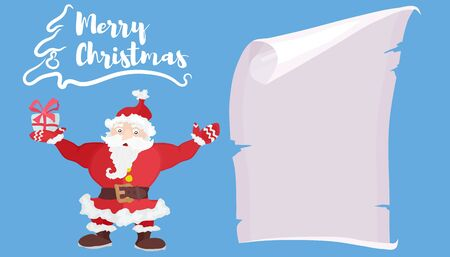 Santa Claus on a blue background with a scroll of paper