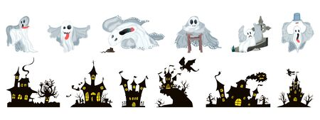 A selection of Halloween holiday. ghosts and castles