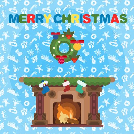 bright christmas poster. fireplace and holiday wreath