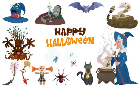 halloween character selection. Witch and Monsters Stock Illustratie