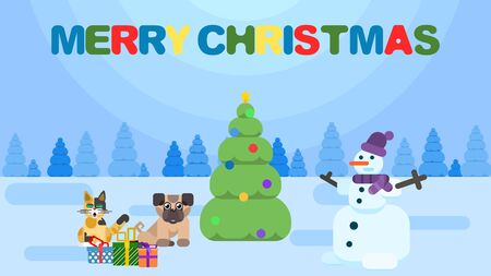 Christmas poster. animals in the forest with a snowman