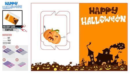halloween postcard template. mansion ghost and pumpkin