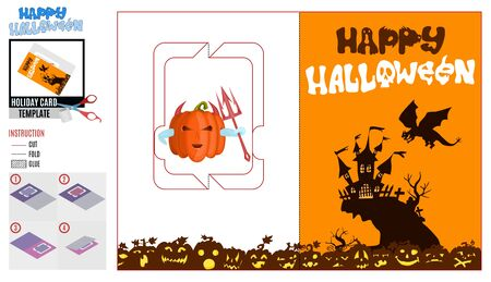 evil dragon over the castle. halloween paper card template Ilustrace