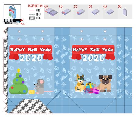 happy New Year. Christmas package print template.vector image Standard-Bild - 134720546