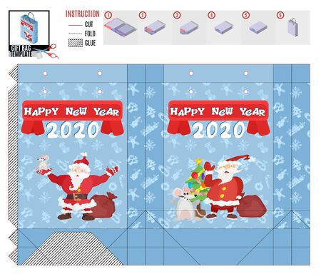 gift bag for christmas template. santa claus with presents.vector image