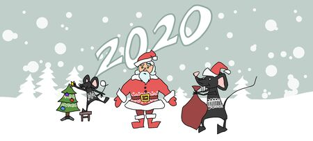 Santa Claus holiday mouse year poster. Stock illustration vector Stock Vector - 134722186