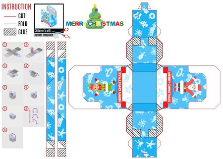 Elf and Santa are having fun. cutting box template. vector Ilustração