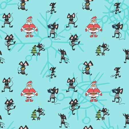 Christmas seamless poster with Santa and animal mice. vector work stock Ilustracja