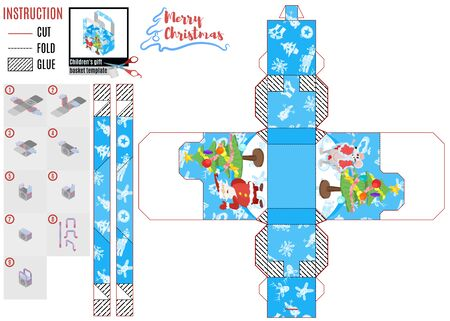 print box template. new year santa and characters. vector work stock