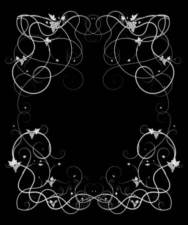 pattern with grapes on a black background ornament. vector