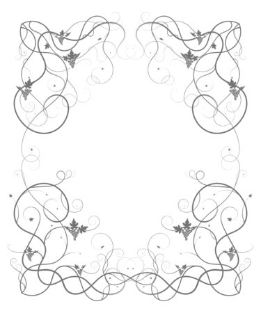 simple frame with twisted stalks of grapes. vector