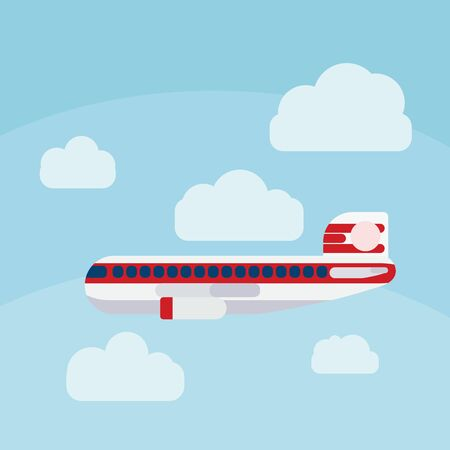 airplane in the sky flat illustration. vector
