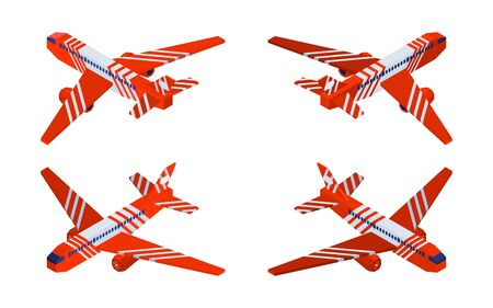 red airplane compilation isometric models. vector 일러스트