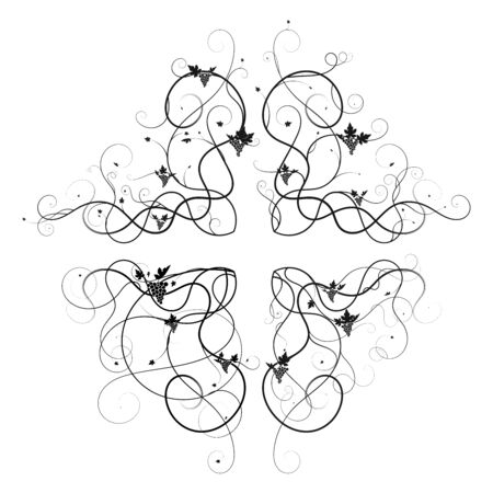 corners patterns grapes tangled. decoration vector new