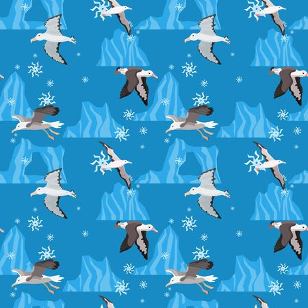 seamless pattern antarctica and snow. Albatross birds in flight.