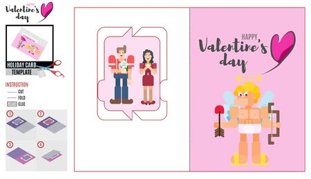 pink card template with cupid. young people on a date