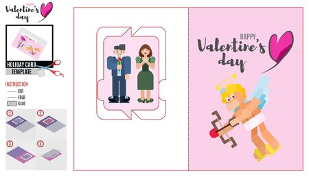 pink card template with cupid. husband gives his wife flowers Иллюстрация