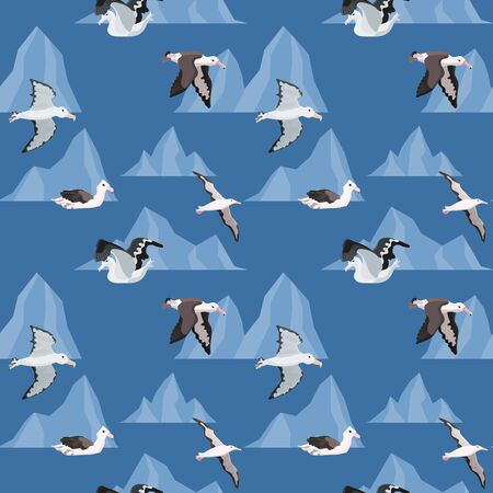 seamless pattern with birds. albatrosses in the icebergs of Antarctica. vector illustration