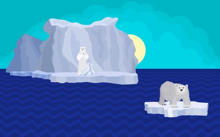 bear on the ice. drawing bright iceberg and blue sea. vector illustration