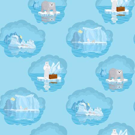 seamless pattern. Arctic ice bears. vector illustration
