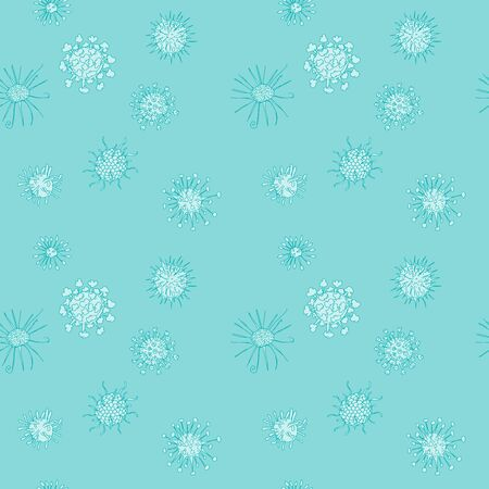 microbes green background. seamless pattern with viruses. vector illustration
